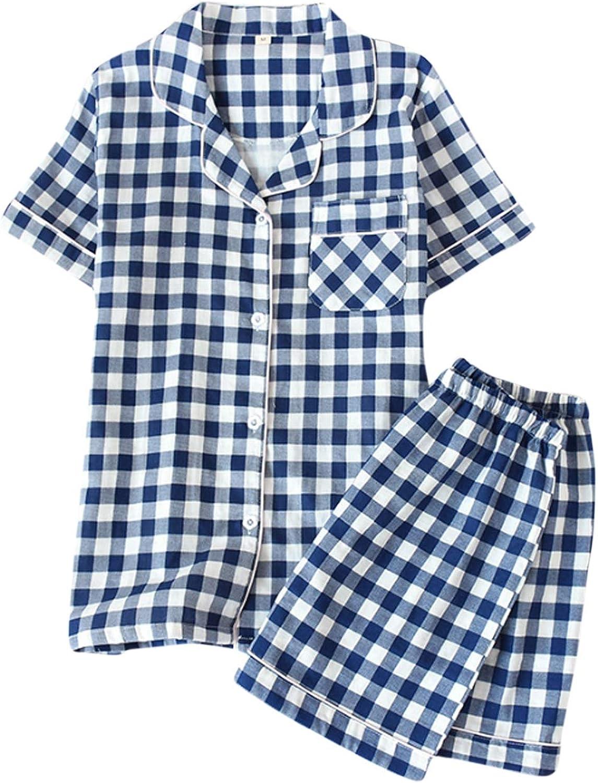 Men'S Short Pajamas Set For Men 2Pc Sleepwear Blue M