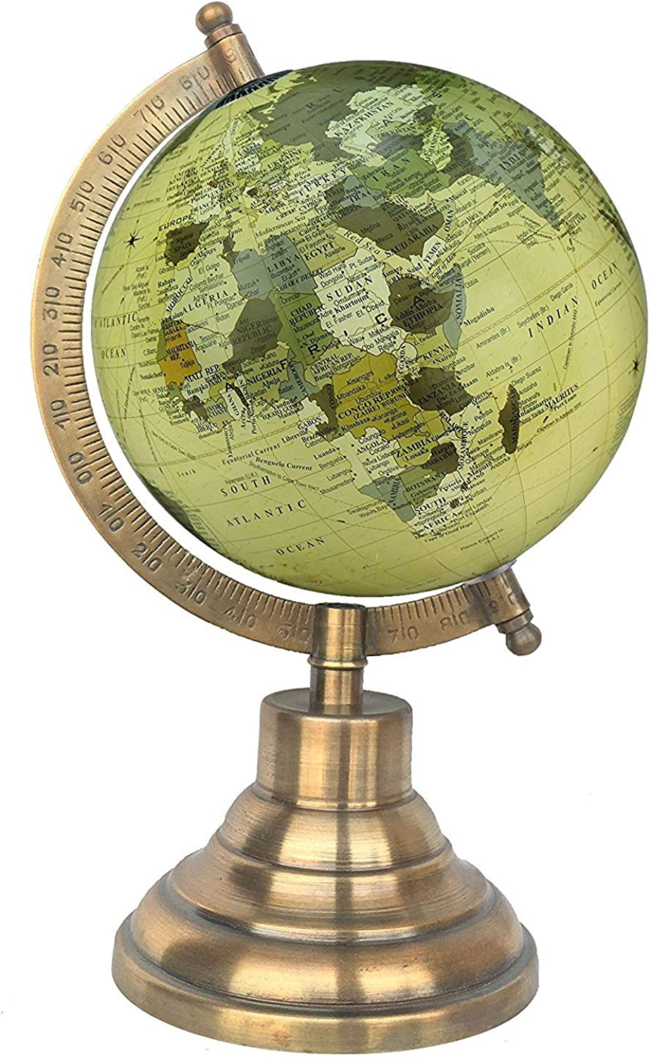5  Old Beige Educational, Antique Globe with Brass Antique Arc and Base, World Globe, Home Decor, Office Decor, Gift Item by Globes Hub