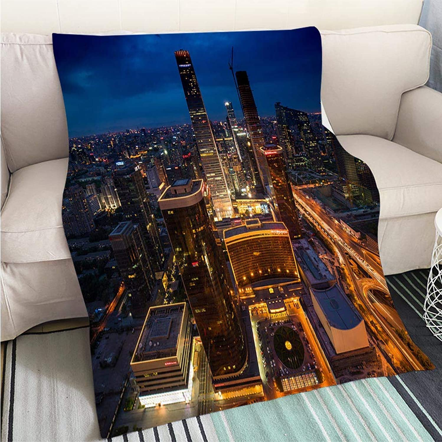 Super Soft Flannel Thicken Blanket Beautiful Night Scene of Beijing Skyline Perfect for Couch Sofa or Bed Cool Quilt
