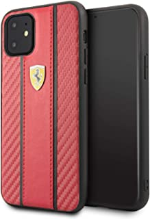 CG Mobile Ferrari Pu Leather Hard Case for iPhone 11 Cell Phone Cover with Carbon Fiber Inspired Design Drop Protection Sh...