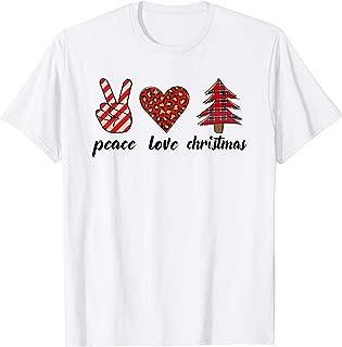 Peace Love Christmas V Sign Leopard Heart Xmas Tree Hippie T-Shirt