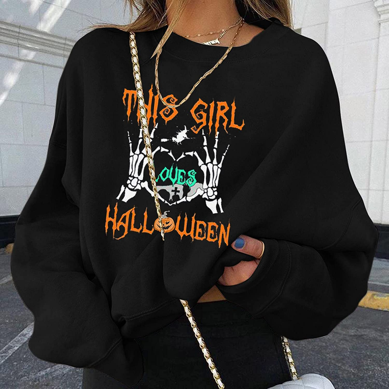 ORT Sweatshirts for Women Hoodie Pullover, Women Long Sleeve Blouse,Womens Hoodies Graphic, Women Girls Cute Graphic Printed Long Sleeve Hoodie and Sweatshirts Casual Loose Pullover