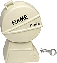 alles-meine.de GmbH Spardose - Grill Kohle - 16,5 cm - inkl. Name - mit Schlüssel + Schloss - aus Porzellan / Keramik - st...