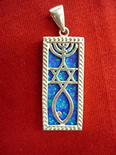 Messianic Star David Fish Jesus Silver 925 Pendant with Opal Stone Holy Land