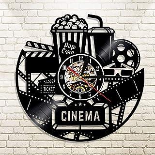 FDGFDG Cinema Vinyl Record Reloj de Pared Reloj de diseño Moderno Película de Cine Reloj de Pared Reloj de Tiempo Coca-Cola de Palomitas de maíz para Regalo de Amante de la película
