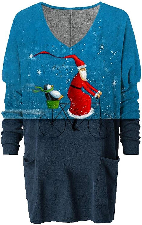 Hotkey Womens Christmas Sweatshirt Lovely Santa Penguin Printed Snowflake Tops V-Neck Long Sleeve Pocket Jumper Blouse Shirt