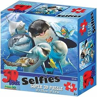 Fiesta Toys Super 3D Kids Ocean Selfies Jigsaw Puzzle with Ocean Animals - 48 Pieces Set