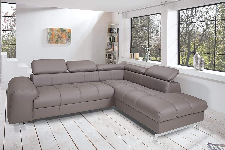 262 x 72 x 206 Strukturstoff Grau L-Sofa mit Schlaffunktion Bettkasten und verstellbaren Kopfst/ützen Mivano Ecksofa Chef