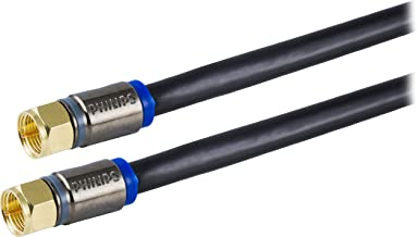 Philips RG6 Quad Shield Coaxial Cable, 6 ft. in-Wall Rated, Ideal for TV Antenna DVR Satellite Cable, F-Type Connectors, 3 Ghz Digital, Black, SWX9444B/27