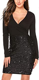 Hotme Women's Sequin Glitter V Neck Long Sleeve Sexy Wrap Front Bodycon Stretchy Mini Party Dress
