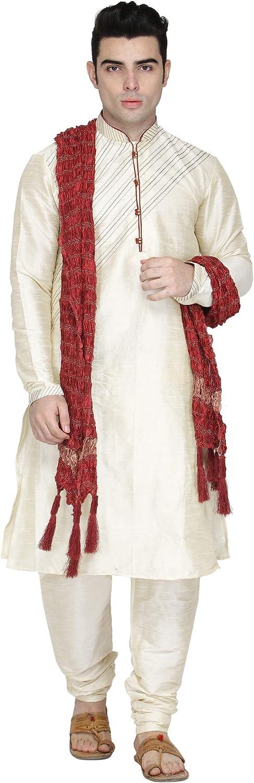 SKAVIJ Men's Art Silk Kurta Pajama and Scarf Festivals Season Ethnic Party Dress Suit