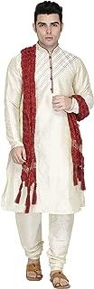 SKAVIJ Men's Tunic Art Silk Kurta Pajama and Scarf Set