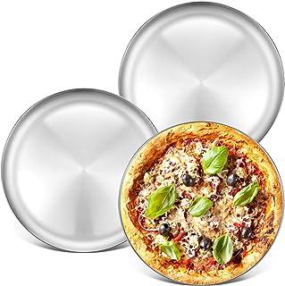 Deedro Pizzablech aus Edelstahl, 33,5 cm, rund, Pizzablech,