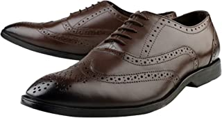 Kanprom Men's Brown Genuine Leather Formal Oxford Lace-Up Brogue Shoes