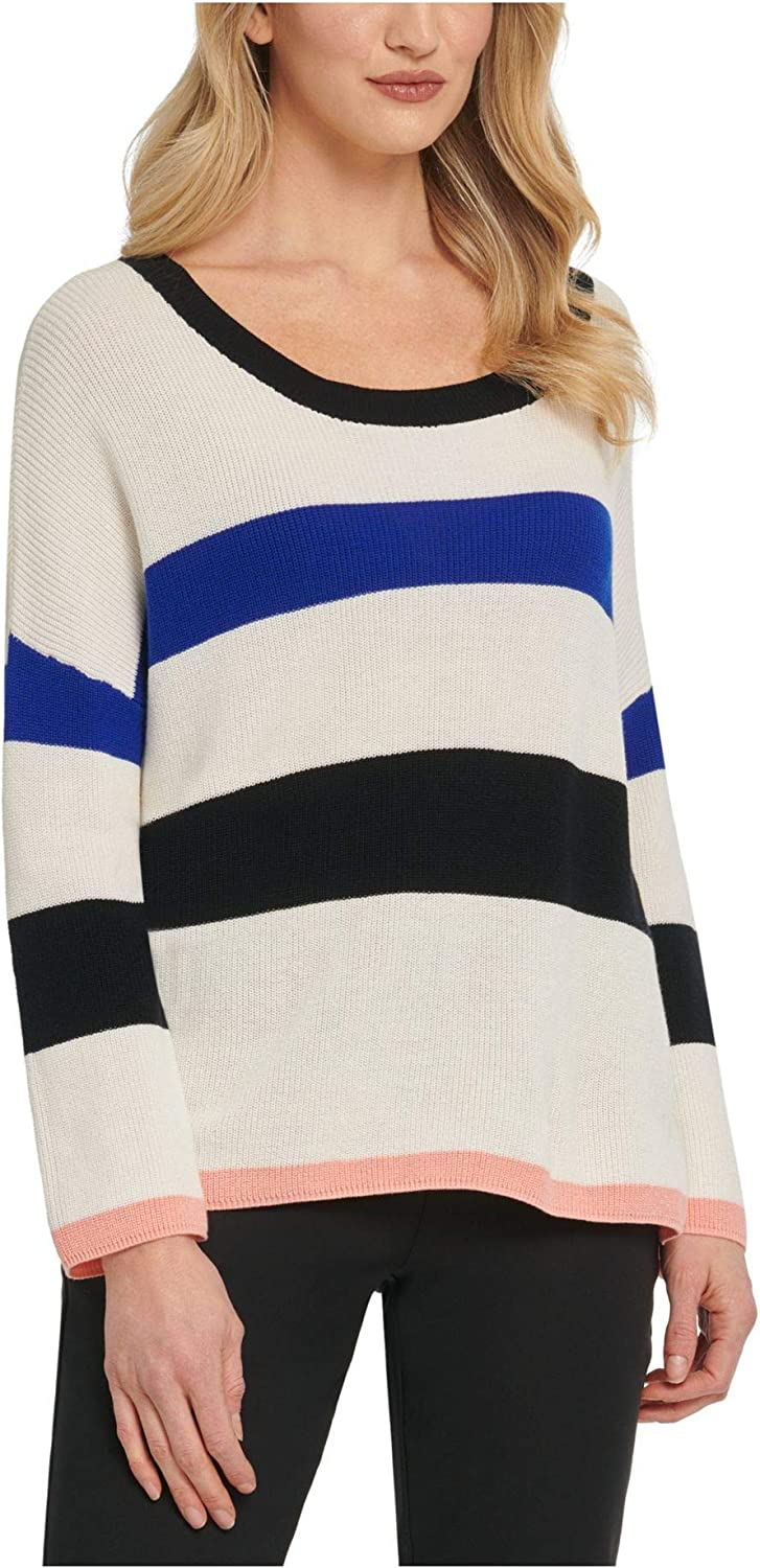 DKNY Womens White Ribbed Color Block Long Sleeve Scoop Neck Sweater Size XL