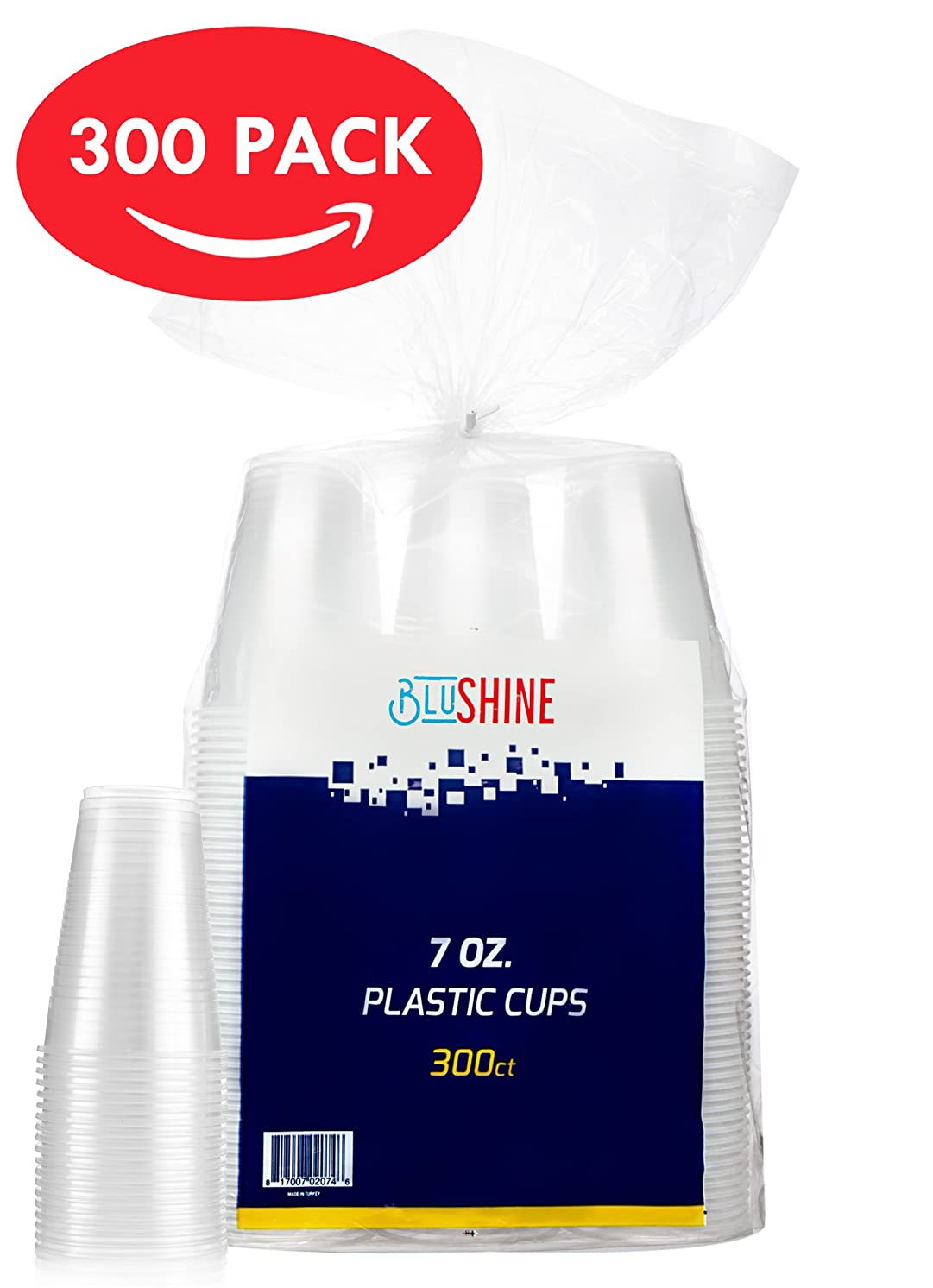 7 Ounce Clear Plastic Disposable Cups by BluShine (300 Count) – BPA-Free, Durable, Stackable & Crack Resistant Drinkware - Non-Stick, Easy to Pull Apart – Ideal for Home, Office, or Business
