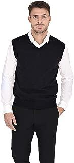 Cashmeren Men's Classic Knit Sleeveless Sweater Vest 100% Pure Cashmere V-Neck Pullover Gilet