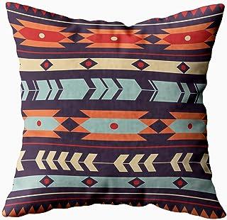TOMKEY Boby - Funda de almohada con cremallera oculta de 50,8 x 50,8 cm, diseño étnico colorido, funda de cojín de algodón para decoración del hogar