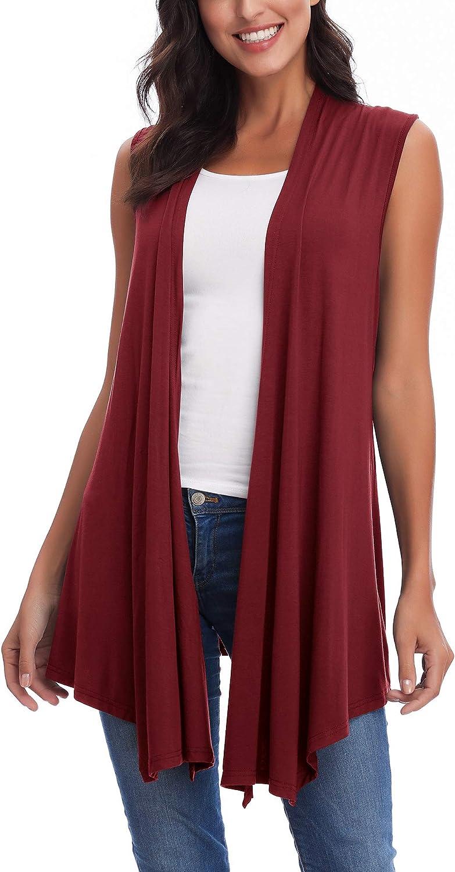 Women's Sleeveless Open Front Draped Asymmetric Hem Cardigan Vest