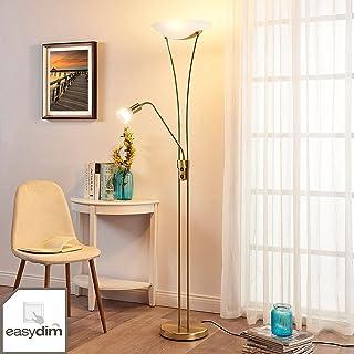 LED Lampadaire 'Felicia' à intensité variable (Moderne) en Doré en Métal e. a. pour Salon & Salle à manger (à 3 lampes, E2...