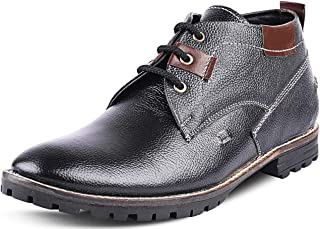 Kanprom Men's Black Genuine Leather Casual Low Ankle Lace-Up Boots