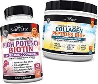10000mcg Biotin with Organic Coconut Oil + Collagen Peptides Protein Powder - Promotes Healthy Skin, Hair, & Nails - Suppo...