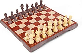 2-in-1Folding Magnetic Wood Chess,Chess Rules for Beginner Chess Set for Kids and Adults HHH++++