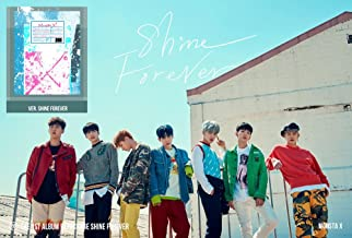 1st Repackage MONSTA X [SHINE FOREVER Ver.] Album CD + Official Folded Poster + Photobook + Photocard + Mini Poster + Sticker + Extra Photo card