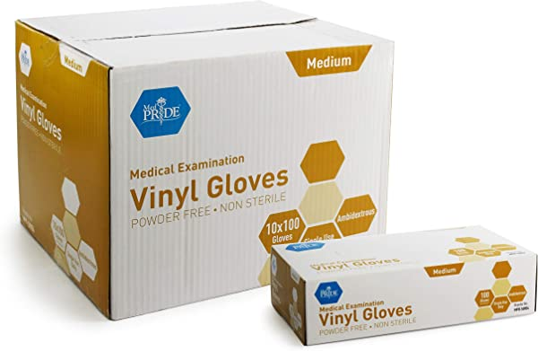 Medpride Medical Vinyl Examination Gloves Medium 1000 Count Latex Free Rubber Disposable Ultra Strong Clear Fluid Blood Exam Healthcare Food Handling Use No Powder