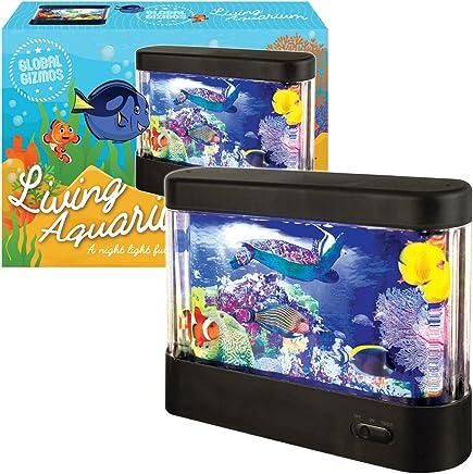 Global Gizmos - Acuario de plástico LED. Funciona con pilas.