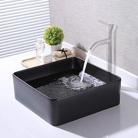 Kes Bathroom Vessel Sink 14 Inch Above Counter Square Matt Black Ceramic Countertop Sink For Cabinet Lavatory Vanity Bvs122 Bk Amazon Com