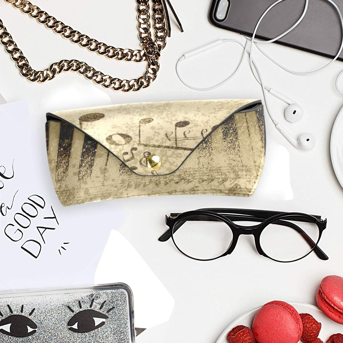 PU Leather Travel Goggles Bag Sunglasses Case Eyeglasses Pouch Multiuse Music Notes On Old Paper Portable