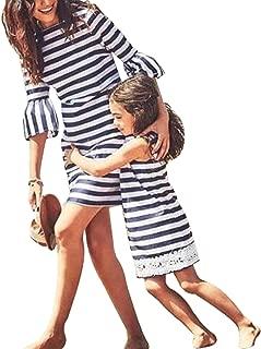 Áo quần dành cho bé gái – Family Matching Navy Striped Beach Dress Mother Daughter Dresses Summer Ruffle Lace Dresses