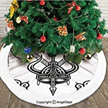 Helmet with Horn Arrow Axe Antique War Celtic Style Medieval Battle Art Prints,Double Layers Christmas Tree Skirt,Black White,36 inches,Themed with Christmas Ornaments