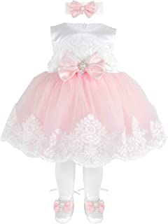 Taffy Baby Girl Newborn Pink Embroidered Princess Pageant Dress Gown 6 Piece Deluxe Set