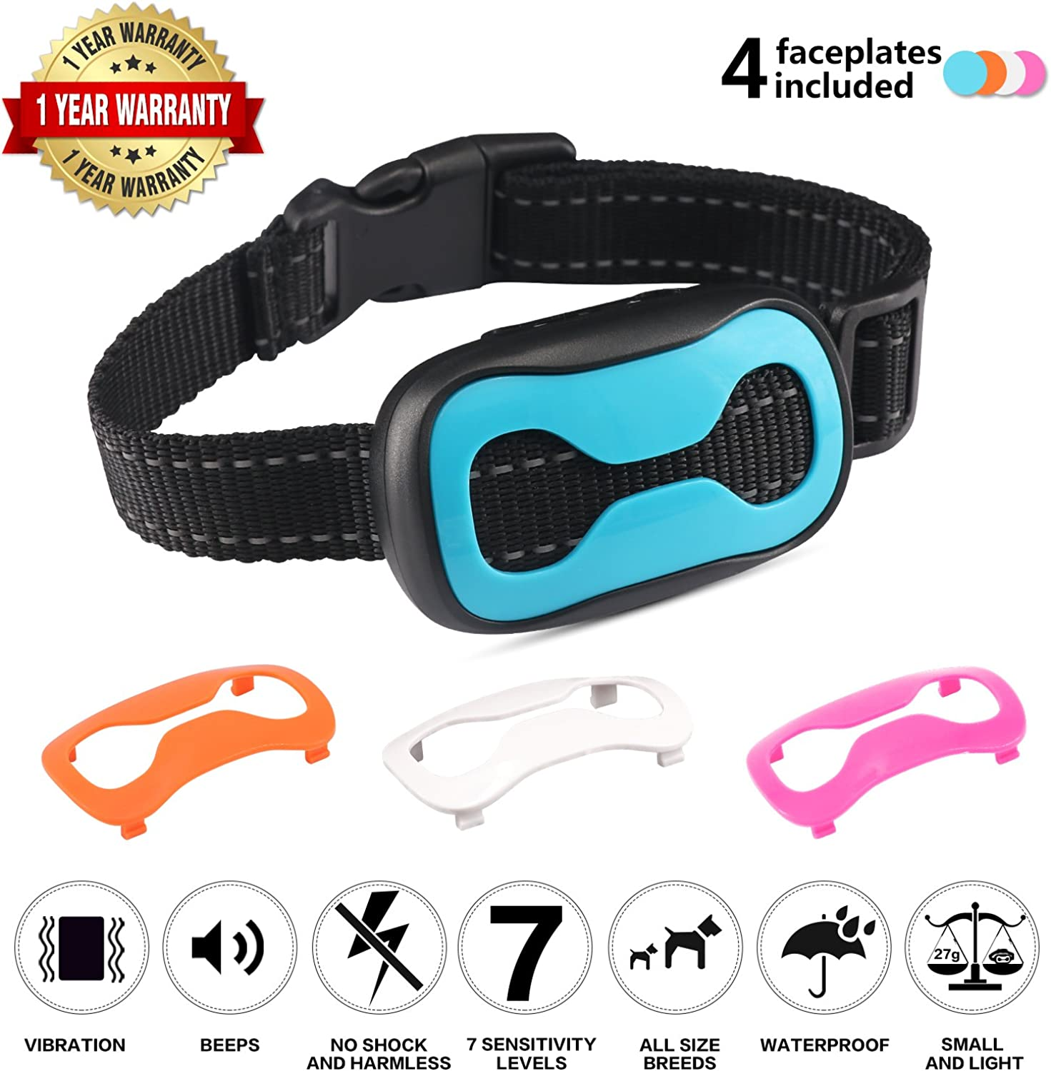 Bark Collar Anti Barking Collar  Reflective Dog Collar to Training Small Middle Dogs with Vibrating Anti Bark Training Device