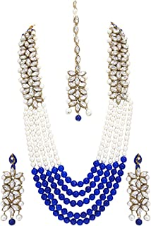 Bollywood Indian Fashion Wedding Pearl Gold Plated Bridal Jewelry Necklace Earring Set for Women