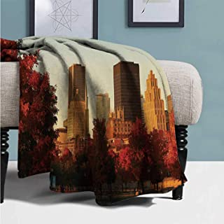 YOLIYANA City Comfortable Blanket,Old Port of Montreal Early in The Morning Scenic Autumn Trees Buildings Canada for Car,49''Lx78''W