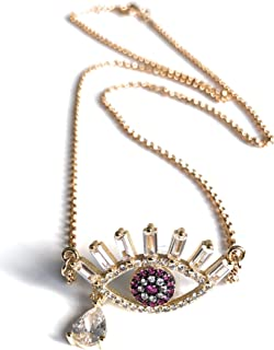 Red Evil Eye Charm Necklace Protection Jewelry 18.5 Inches Chain