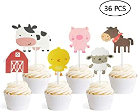 36 PCS Farm Animal Theme Cupcake Topper Cake Picks Decoration for Baby Shower Birthday Party Favors