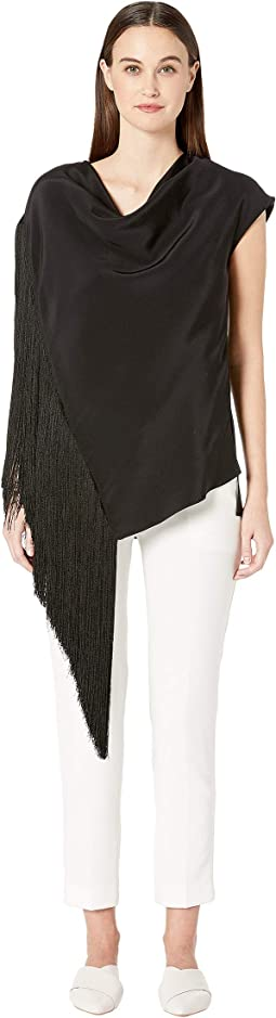 Silk Crepe Cowl Neck Top w/ Fringe