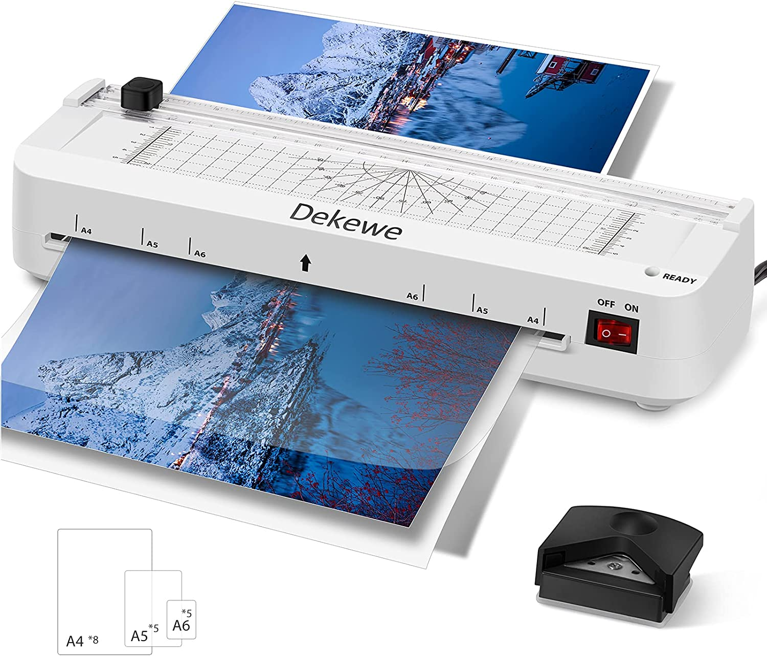 Laminator Machine, Dekewe A4 Laminating Machine, 4 in 1 Thermal Laminator with 18 Laminating Sheets, Paper Trimmer and Corner Rounder for Home Office School Use - White