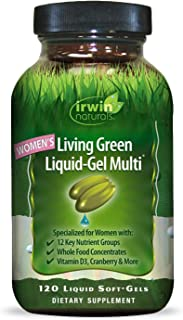Irwin Naturals Women's Living Green Liquid-Gel Multi Vitamin - 70 Essential Nutrients, Full-Spectrum Vitamins, Wholefood Blend - Targeted Adrenal & Brain Support - 120 Liquid Softgels