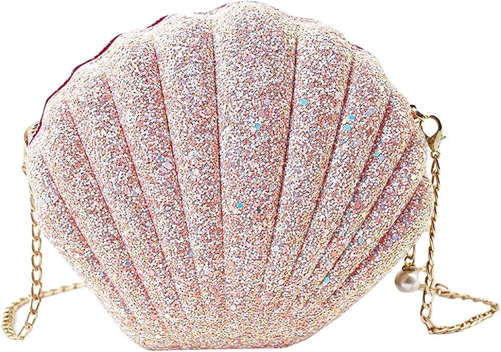ZLM BAG US Glitter Seashell Evening Clutch Purse Mini Chain Crossbody Bag Pu Leather Shell Pearl Shoulder Bag
