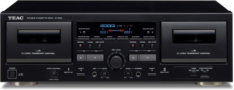 Teac W-1200 Cassette Deck 2Cubierta(S) Negro - Grabadora (30 - 1500 Hz, 6.3 mm , Negro, 22 W, 4.6 Kg, 285.8 mm )