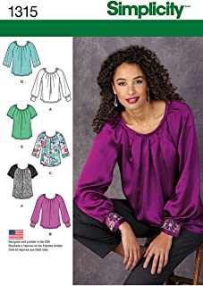 Simplicity Pattern 1315 Misses Pullover Blouse with Sleeve and Trim Variations Sizes 6-8-10-12-14