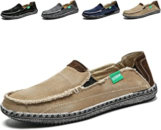 9b9f7fb6603 Men s Slip on Deck Shoes Loafers Canvas Boat Shoe Non Slip Casual Loafer  Flat Outdoor Sneakers