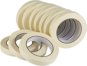 Lichamp Masking Tape 10 Pack General Purpose Beige White Color, 0.75 inch x 55 Yards x 10 Rolls (550 Total Yards), for Painting, Home, Office, School Stationery, Arts, Crafts etc. (3004)