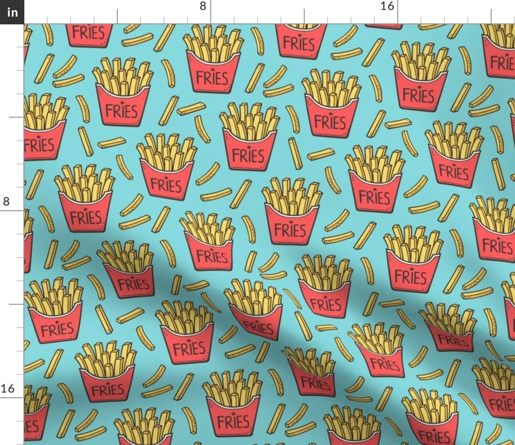 Spoonflower Fabric - French トラスト Fries Food Pop お気に入 Junk Red Blue Dinner