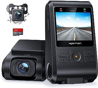 【2020進化版】 APEMAN ドライブレコーダー 前後カメラ 32Gカード付き 200万画素 IPSパネル 1080PフルHD 2カメラ 170度広角 GPS機能搭載 小型2インチ Gセンサー搭載/WDR/夜間対応/常時録画/駐車監視/動き...